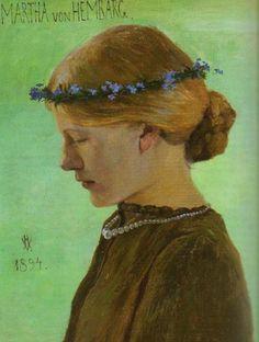 """Portrait of Martha von Hembarg"" 1894 olio su tela Heinrich Vogeler (Brema, Germania 1872 - Qaragandi, Kazakistan Gustav Klimt, L'art Du Portrait, Portraits, Heinrich Vogeler, Art Magique, Art Japonais, European Paintings, Pre Raphaelite, Magritte"
