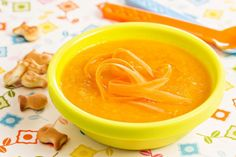 Carrot soup with Kiri cheese « Cooking Baby Food Baby Cooking, Cooking Time, Spreadable Cheese, Childrens Meals, Carrot Soup, Baking Ingredients, Queso, Baby Food Recipes, Kids Meals