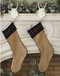 Suzanne Kasler Burlap Mackenzie Plaid Stocking