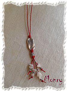 Collar cuero rojo y piedras naturales http://monrycreaciones.over-blog.es