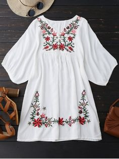 Floral Embroidered V Neck Peasant Dress - WHITE ONE SIZE