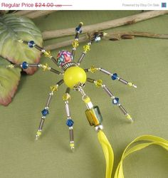 On SALE Wire Spider Sculpture Beaded Sterling by OzmayDesigns, $15.60