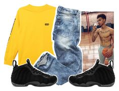 """boy outfit first time1️⃣"" by aribearie ❤ liked on Polyvore featuring HUF, NIKE, men's fashion and menswear"