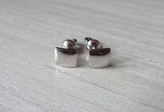 Silver Stud Earrings Four Square Flat Square Sterling Silver