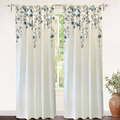 "DriftAway Isabella Faux Silk Lined Thermal Embroidered Crafted Flower Window Curtain Panel width x 84 "" length - ivory/ blue), Multi (Polyester, Floral) White Curtains, Colorful Curtains, Drapes Curtains, Curtain Panels, Blue Floral Curtains, Gingham Curtains, Closet Curtains, Luxury Curtains, Attic Closet"