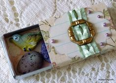 Embellished Match box With Bird Embellishments Inside by susiea, $6.95