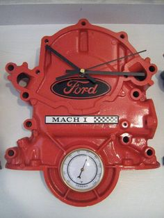 Ford Timing Cover Clock With Thermometer - Cool but I would put a Chevy or Rambler in my garage to go with my cars.
