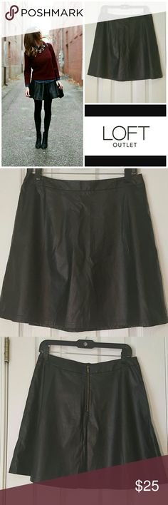 Faux leather skater skirt NWT Shell: coating polyurethane, 80% rayon 20% polyester. Lining 100% polyester. Great condition. Never worn. Top left pic and last pic for style inspiration only. Loft Outlet Skirts Circle & Skater