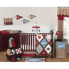 All Star Sports Bedding by JoJo Designs - Sports Baby Crib Bedding for baby boy nursery Baby Boy Cribs, Baby Bedding Sets, Crib Sets, Baby Boy Rooms, Baby Boy Nurseries, Kids Rooms, Comforter Set, Nursery Bedding, Ideas