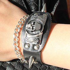 Chic Adjustable Skull Rivet PU Leather Bracelet For Men