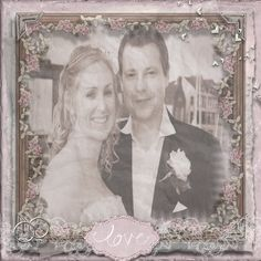 THIS DESIGN DONE VIA SERIF CRAFT ARTIST IS FEATURING A PHOTO OF MY BROTHER AND HIS NOW WIFE DIANE ON THEIR WEDDING DAY . AS MY BRO ULTRA GOOD PHOTOGRAPHER IN HIS SPARE TIME[WHICH ISNT MUCH NOW THEY HAVE TWO UNDER FIVE'S!] ANY PHOTO BY HIM IS ALWAYS GOOD AND IDEAL FOR CRAFTING WITH! THANKS BRO, LOVE YOU LOADS X