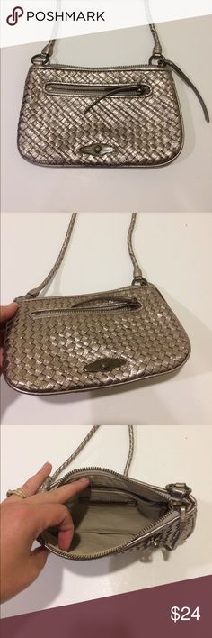 "Elliott Lucca Woven Leather Bag Metallic Silver Petite and adorable! This gorgeous bag easily transitions from day to night. Small but can fit all the essentials, excellent condition. Can be worn as a Crossbody. Offers always warmly received. Approx 8"" by 5"" Elliott Lucca Bags Crossbody Bags"