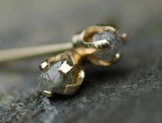 Small Rough Silver Diamonds in 14k Yellow Gold by Specimental