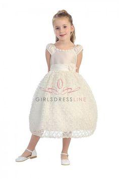 Ivory+Poly+Silk+Taffeta+Girl+Dress+with+Cap+Sleeves+TT-5583-IV+on+www.GirlsDressLine.Com
