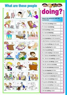 Part 1 - match action words with the pictures Part 2 - write sentences using the present continuous tense. Grammar: Present continuous (progressive) tense; English Resources, English Activities, Education English, English Lessons, Teaching English, Grammar And Vocabulary, Grammar Lessons, English Vocabulary, English Grammar