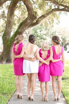 Gingham and Bunnies Bridal Shower Inspiration - Southern Weddings Pink Bridesmaid Dresses, Bridesmaid Flowers, Wedding Bridesmaids, Hot Pink Weddings, Pink Wedding Theme, Bridesmaid Inspiration, Wedding Inspiration, Magenta, Pink Flower Girl Dresses