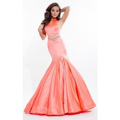 Rachel Allan 7091 Prom Mermaid Dress Long High Neckline Sleeveless ($418) ❤ liked on Polyvore featuring dresses, gowns, glitter, formal dresses, hot coral, red formal gown, long red gown, long prom gowns, red carpet gowns and red prom dresses