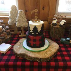 Lumberjack first birthday cake topper dessert table #lumberdec @apieceofcakeri