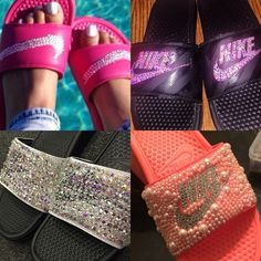 Bedazzled Nike Slides Handmade by me! Any size, any color. Nike Shoes Slippers
