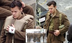 Harry Styles shows off his 1940s-style military cut on set of Dunkirk
