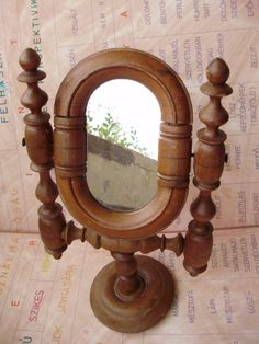 Vintage wood frame mirror,cosmetic mirror by GraceVintageDesigns on Etsy