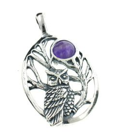 Sterling Silver Night Owl in Tree Scene with Amethyst Moon Pendant *** Click image for more details.