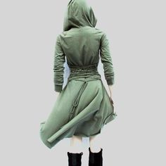 Irregular high low hoodies dress Bandage back lace up army green dresses Grey gothic sweater dresses 2017 New autumn vestidos