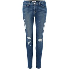 Frame Denim Le Skinny De Jeanne Jeans - Matteson ($165) ❤ liked on Polyvore featuring jeans, pants, bottoms, jeans/pants, matteson, destructed skinny jeans, blue wash jeans, skinny fit jeans, distressed skinny jeans and torn jeans