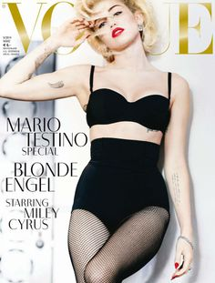 Miley Cyrus poses in the traditions of Madonna and Marilyn Monroe for Mario Testino's 'Blonde Angel' cover story editorial for Vogue Germany. Carlyne Cerf De Dudzeele styles Miley in dazzling gems and retro lingerie./ Hair by Oribe; makeup by Yadim Vogue Magazine Covers, W Magazine, Fashion Magazine Cover, Fashion Cover, Fashion Tape, Fashion Sewing, Women's Fashion, Mario Testino, Fashion Editorials