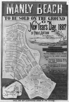 Manly Beach Estate Map 1887 - wonder what they sold for.premium land with spectacular views! Avalon Beach, Real Estate Ads, My Ancestry, Manly Beach, Great Memories, Historical Photos, Brisbane, Old Photos, Growing Up