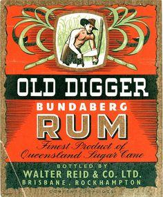 Vintage Australian rum bottle label. You can still buy Bundaberg rum... and ginger beer, and root beer.