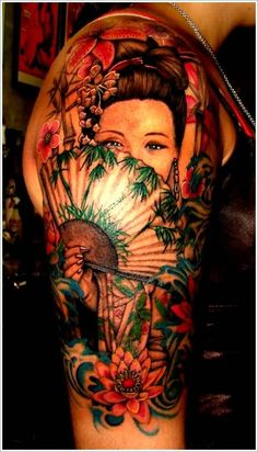 Red And Black Ink Geisha With Hand Fan Tattoo On Girl Shoulder
