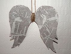 diy angel wings ornament - use copies of notes from Mom instead of newspaper