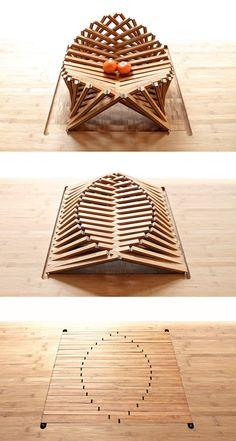 Rising Shell par Robert van Embricqs - Journal du Design Plus Folding Furniture, Cardboard Furniture, Wood Furniture, Furniture Design, Wood Design, Chair Design, Architecture Design, Diy And Crafts, Shells