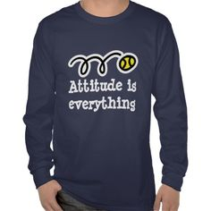 Long sleeve tennis shirt with motivational quote. Attitude is everything
