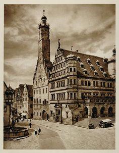 1925 Rathaus Rothenburg ob der Tauber Bavaria Germany - ORIGINAL GER2