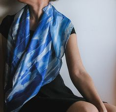 Hand painted silk shawl l hand painted silk scarf | handpainted | black and white | minimalist fashion | fashion accessories | light scarf | square scarf | abstract art | handmade