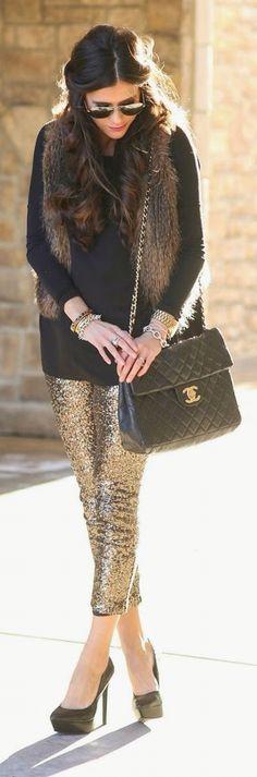 Gold sequin leggings & fur vest.