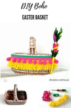 Kosz do święconki boho, DIY boho easter basket, Easter, Wielkanoc, dekoracje wielkanocne, kosz wielkanocny,