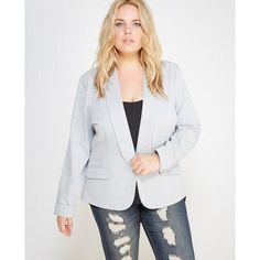 Knitwork Productions  Heathered Knit Blazer With Roll Sleeves ($33) ❤ liked on Polyvore featuring plus size women's fashion, plus size clothing, plus size outerwear, plus size jackets, plus size blazers, grey, plus size, wet seal, grey jacket and wet seal jackets