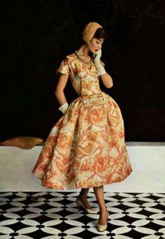 Model wearing Jean Patou for L'Officiel de la Mode,1955.