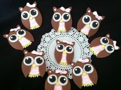 Owl Birthday Decorations, 12 Owls Cupcake Toppers, Owl First Birthday Favors, Owl Birthday Party Theme, Pink Owl Baby Shower Decoration Pink and Brown, Brown Owls Decorations