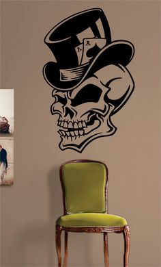 Skull The latest in home decorating. Beautiful wall vinyl decals, that are simple to apply, are a great accent piece for any room, come in an array of colors, and are a cheap alternative to a custom p