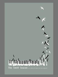 Piano bird #minimal #poster #design