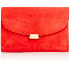 Mansur Gavriel Flamma Suede Envelope Flat Clutch ($695) ❤ liked on Polyvore featuring bags, handbags, clutches, red suede handbag, man bag, suede leather handbags, red clutches and suede clutches