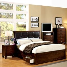 Furniture of America Ricarde Brown Cherry Leatherette Headboard Storage Platform Bed | Overstock™ Shopping - Great Deals on Furniture of America Beds
