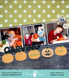 JennyEvans_FPD_CarvingPumpkins_layout using elements from Merry Little Christmas, Happy Go Lucky and Collecting Moments collections by Fancypantsdesigns.com