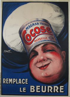 """Cocose Remplace Le Beurre original vintage poster by Cometti from 1920 France. Original antique food poster features the face of a male with chef hat on of which is the inscription Magnan Freres Cocose Marseille"""" on dark blue background."""