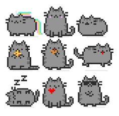 Sandbox Pixel Art - Pusheen the cat - Wattpad Easy Perler Bead Patterns, Diy Perler Beads, Perler Bead Art, Cross Stitch Patterns, Easy Pixel Art, Hamma Beads Ideas, Pixel Beads, Fuse Beads, Pixel Drawing
