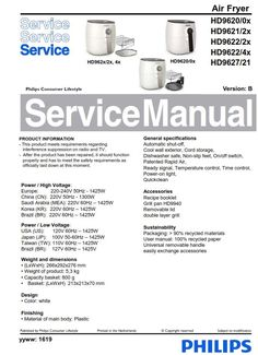 Philips Airfryer HD9238 + HD9230 original service manual